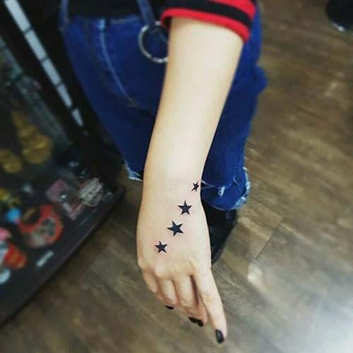 four star tattoo on habd dört yıldız dövmesi