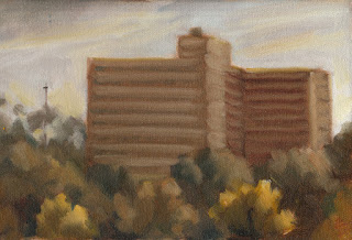 Oil painting of high-rise flats surrounded by trees.