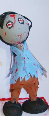 Fofucho zombie con su ropa rasgada y mucha sangre