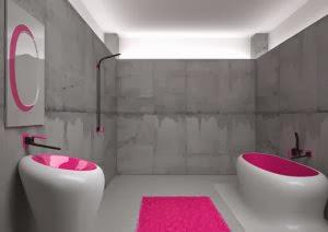 Baño rosa y gris