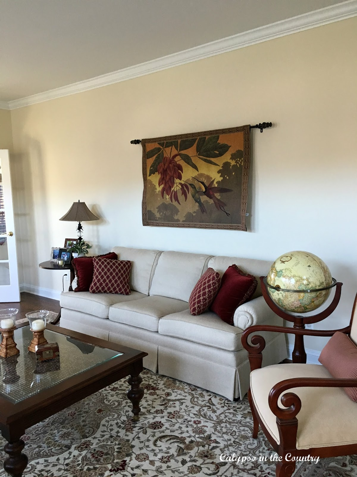 Tapestry in British Colonial Living Room