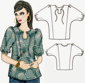gráfico de patrón de blusa hippie