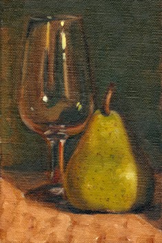 Oil painting of an ISO tasting glass beside a green pear.