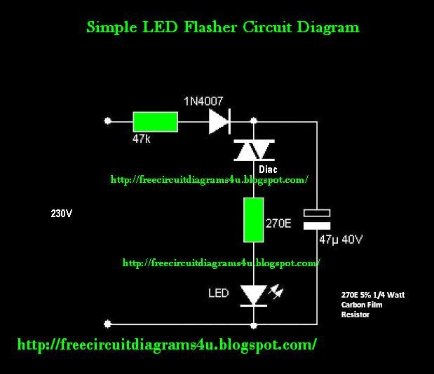 free circuit diagrams 4u simple 230v led flasher circuit. Black Bedroom Furniture Sets. Home Design Ideas