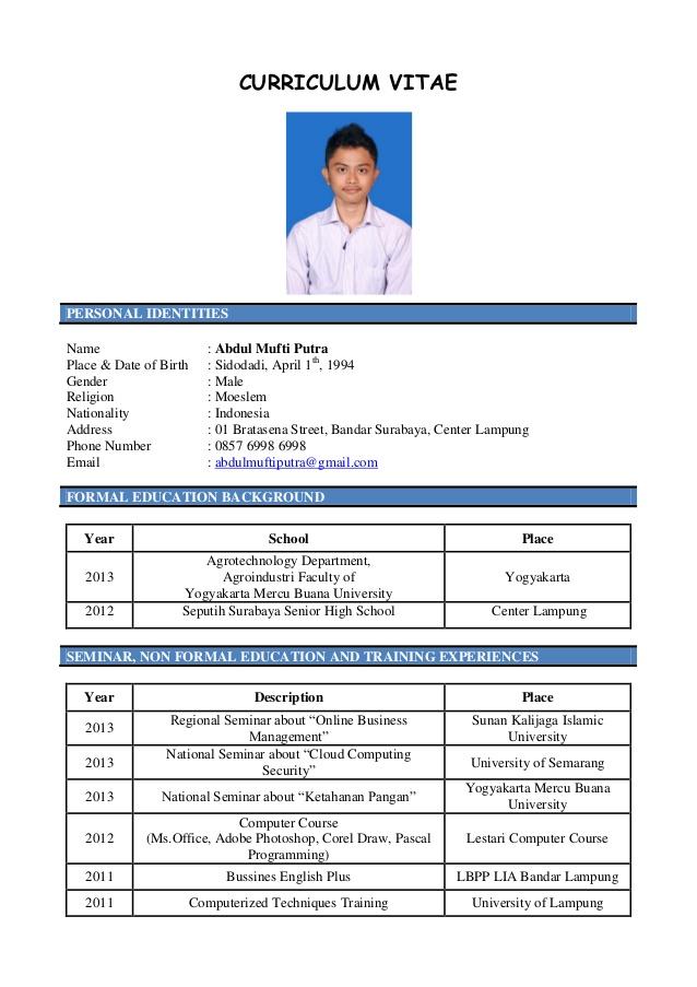 Contoh Curriculum Vitae Bahasa Inggris Pelaut