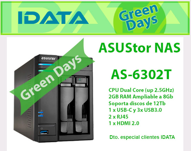 "ASUStor NAS AS6302T 2 bahías 2,5/3,5"" Intel Apollo Lake Dual-Core2.0 GHz up to 2.5GHz"