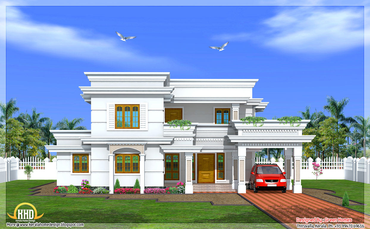 Modern two story 4 bedroom house 2666 sq ft kerala for Two storey house design with floor plan with elevation
