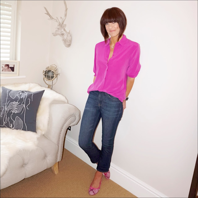 My Midlife fashion, marks and spencer silk shirt, j crew billie cropped kick flare jeans, snake print ballet pumps