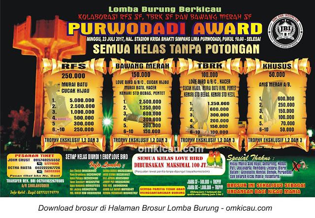 Lomba Burung Berkicau Purwodadi Award, 23 Juli 2017
