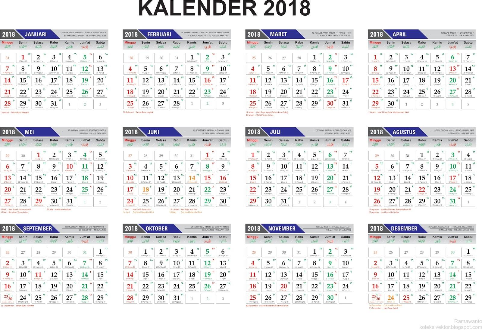 Template Penanggalan Kalender 2018