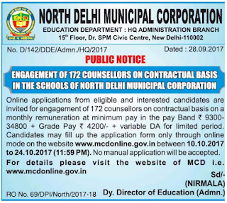 North Delhi Municipal Corporation Schools NDMC Counselor 172 Govt Jobs Online Recruitment Notification 2017