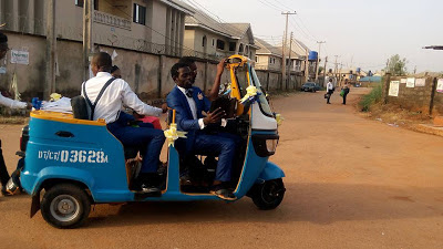 Swagg!!! Popular OAP Uses Tricycle [Keke NAPEP] For His Wedding