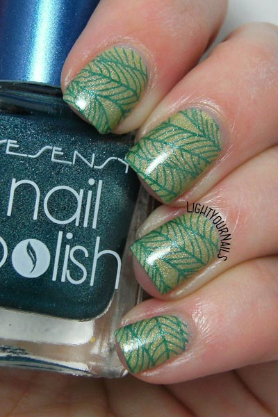 Green leaves nail stamping feat. Liquid Sky Lacquer Blue Hawaiian and Bornprettystore's Floral BPX-L018 stamping plate
