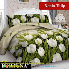 Sprei Custom Katun Lokal Xenia Tulip Bunga Dewasa Hijau Putih