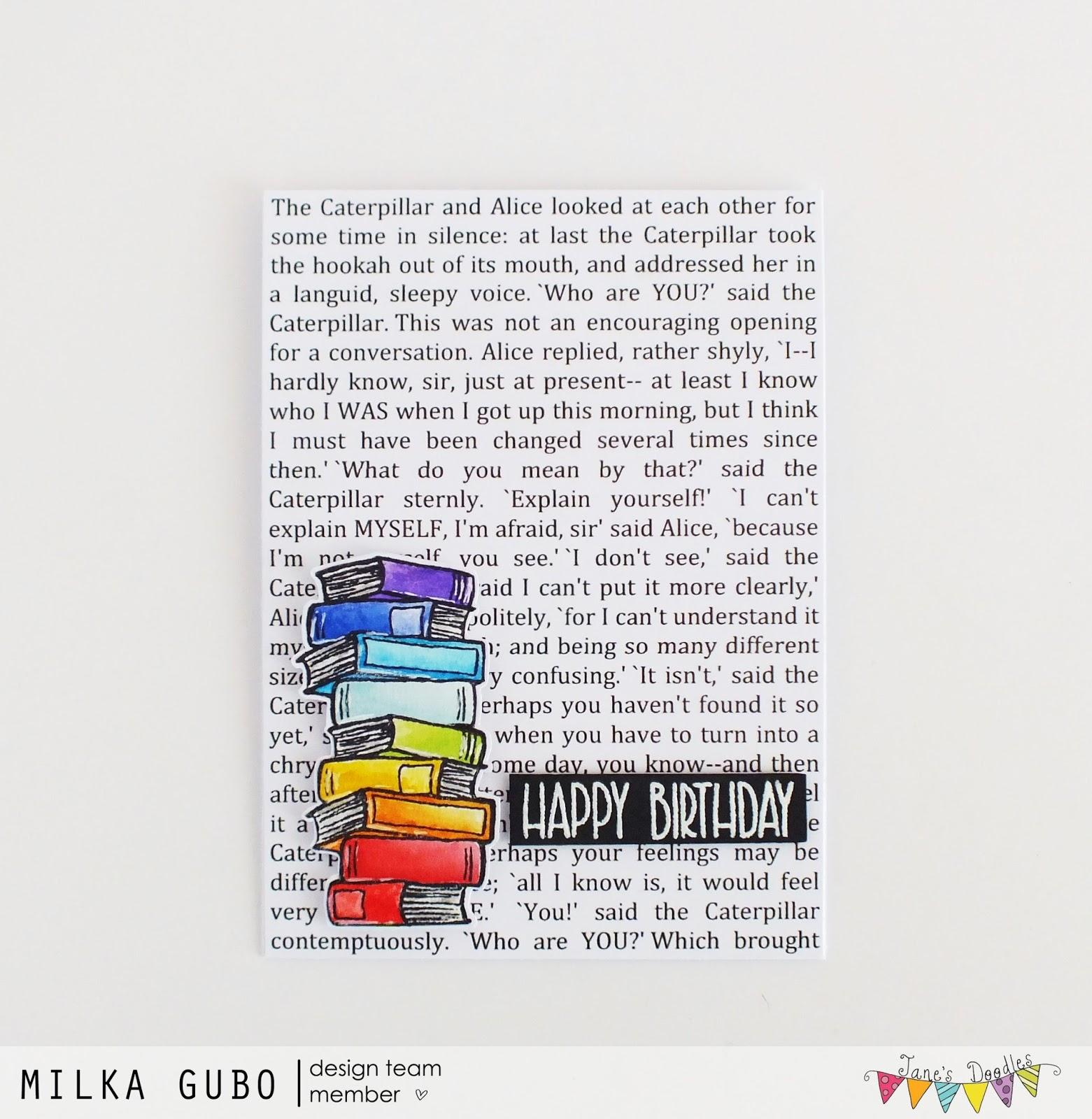Crafty Milka Rainbow Books Birthday Card Jane S Doodles Dt