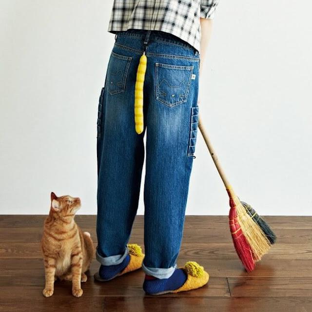 جينز مع ذيل القط