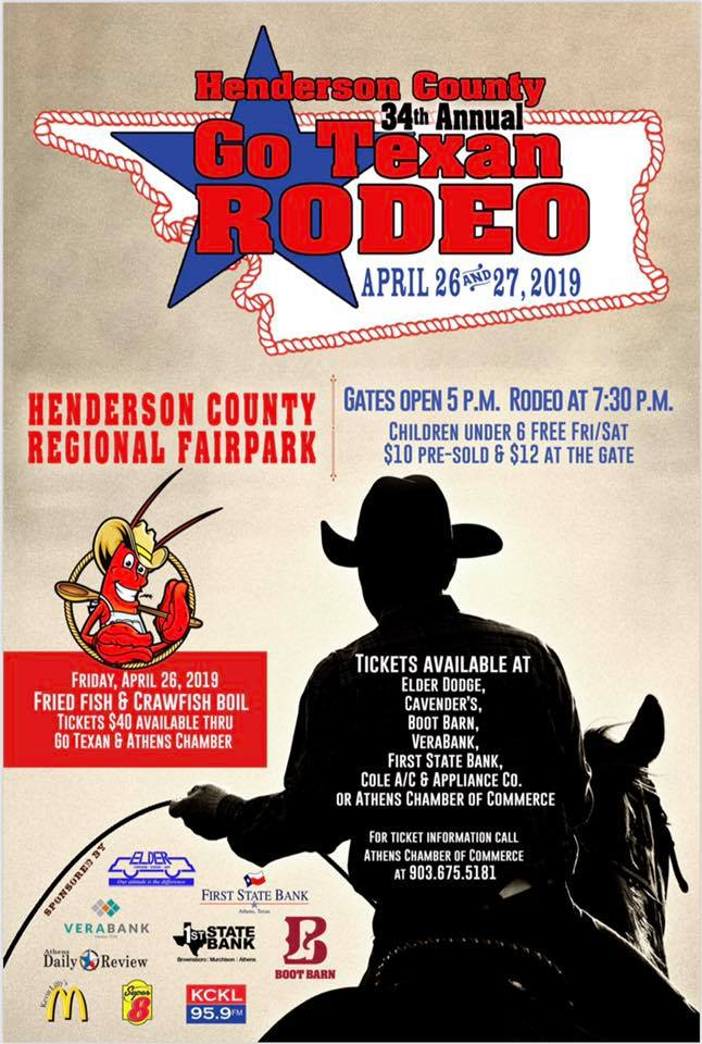 BBQ contest and Fried Fish and Crawfish Boil featured at Henderson County's 34th annual Go Texan Rodeo