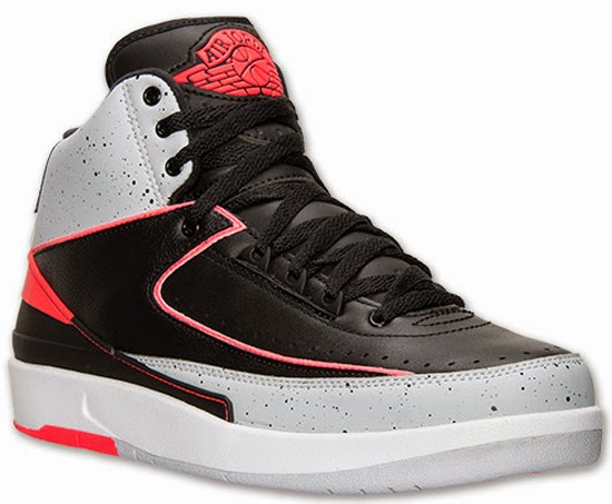 new arrival 2d4f6 e2e6b This Air Jordan 2 Retro comes in a black, infrared 23, pure platinum and  white colorway. Featuring a black based leather upper with cement print  wrapping ...