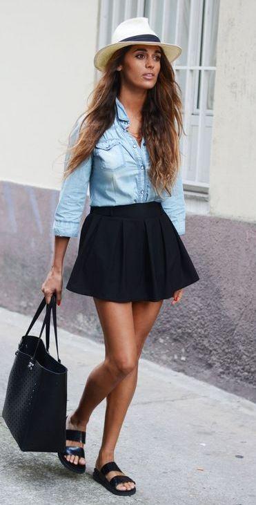 cute casual outfit idea | denim shirt + black skirt + hat + bag + flip-flop