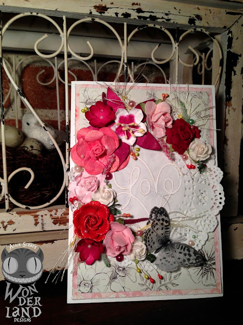 Alice Scraps Wonderland | Blushing Bride Handmade Wedding Card