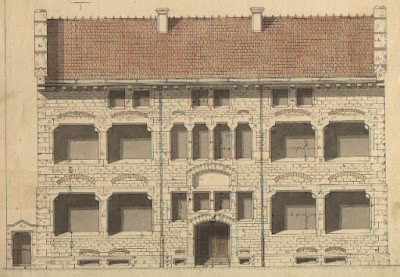 Façade du bâtiment, aquarelle-plan de Dulac (collection Pirou)