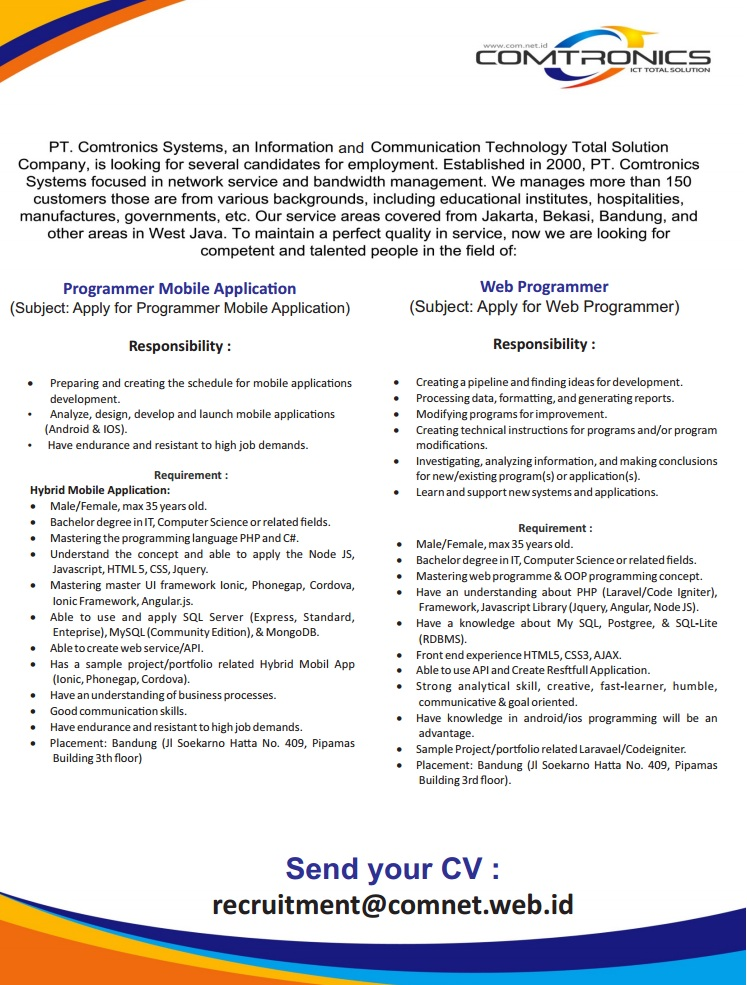 Lowongan Kerja PT. Comtronics Systems September 2016