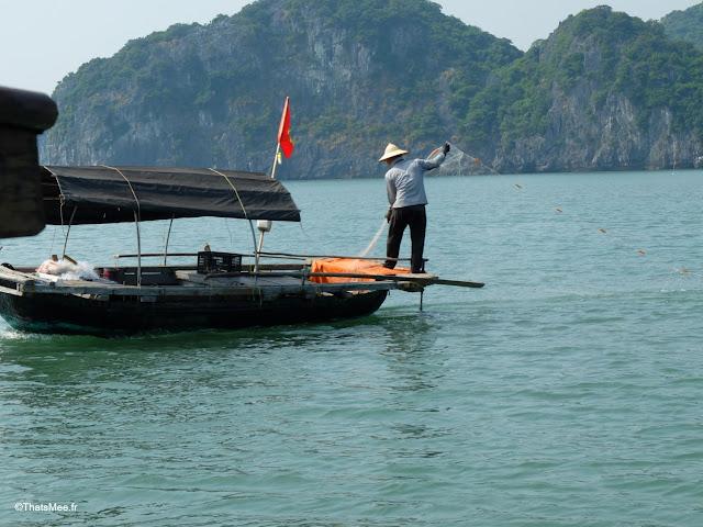 pecheur baie halong voyage vietnam tour bateau par cat ba, mer montagne paysage vietnam