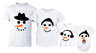 Comanda de aici setul pentru familie- tricouri cadou de Craciun om de zapada