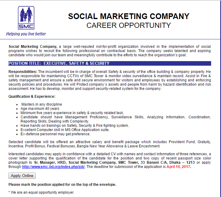 Social marketing company executive safety security job career social marketing company position executive safety security thecheapjerseys Image collections