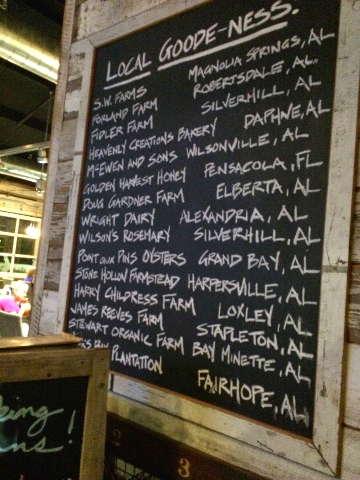 The list of local farms they source their ingredients from.
