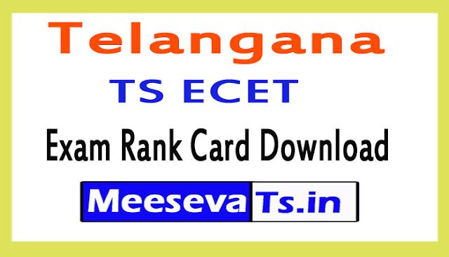 TS ECET Exam Rank Card Download 2018