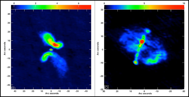 "At left is the galaxy J0702+5002, which the researchers concluded is not an X-shaped galaxy whose form is caused by a merger. At right is the galaxy J1043+3131, which is a ""true"" candidate for a merged system. Credit: Roberts, et al., NRAO/AUI/NSF"