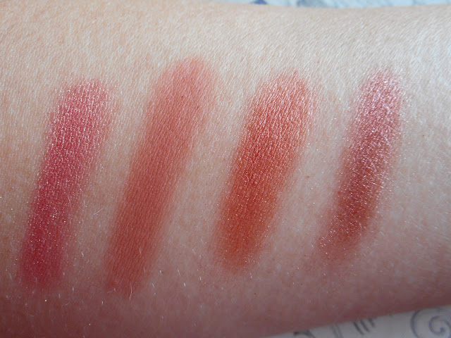 Urban Decay Naked Heat swatches - L-R Lumbre, He Devil, Dirty Talk, Scorched