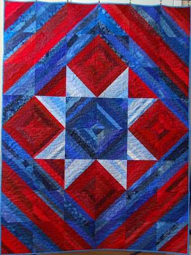 Patriotic String Star Quilt Free Pattern  designed by Mary Johnson of MaryQuilts