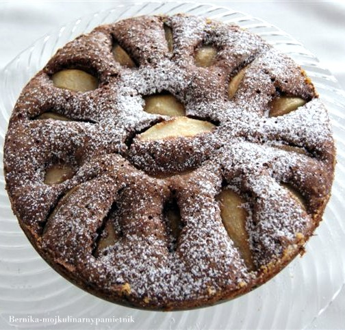 ciasto, gruszki, czekolada, deser, bernika, kulinarny pamietnik