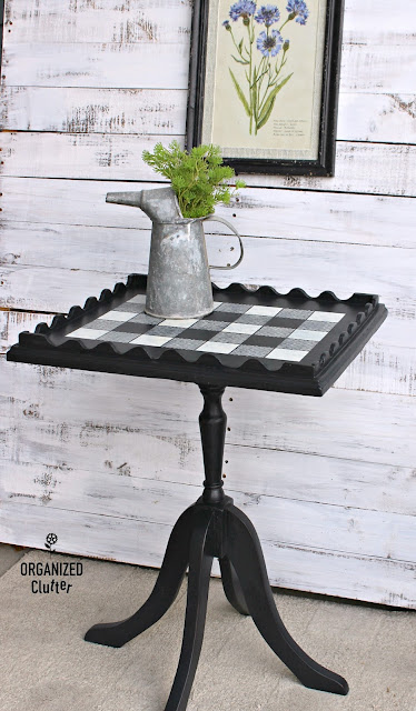 Vintage Pedestal Table Upcycle with Buffalo Check Stencil organizedclutter.net