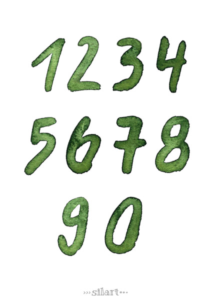 Watercolor Numbers, green