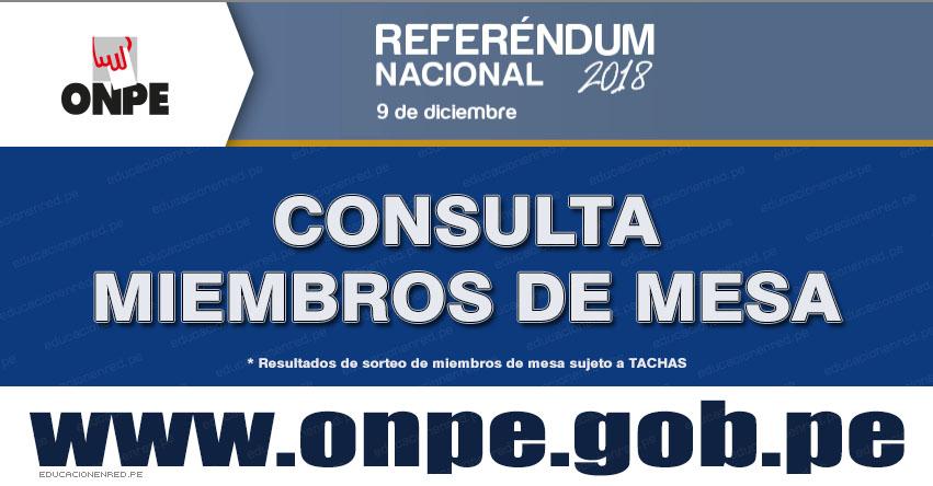ONPE: ¿Eres Miembro de Mesa? Conoce la lista sujeto a TACHAS para el Referéndum Nacional del 9 de Diciembre 2018 - www.onpe.gob.pe