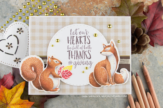 This fun, fall card was created using the Fun Stampers Journey Thankful Friends Stamp & Die Bundle, and the Flannel Life background stamp.