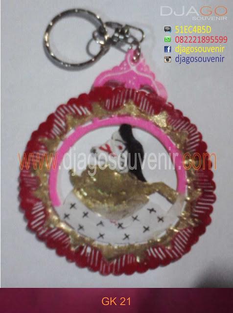 Souvenir Gantungan Kunci murah harga grosir Model bulat batik simpel kode 21
