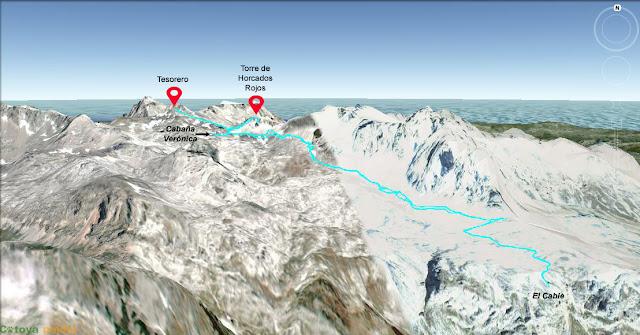 Mapa detallado de la ruta con ascensión al Pico Tesorero y a la Torre de Horcados Rojos