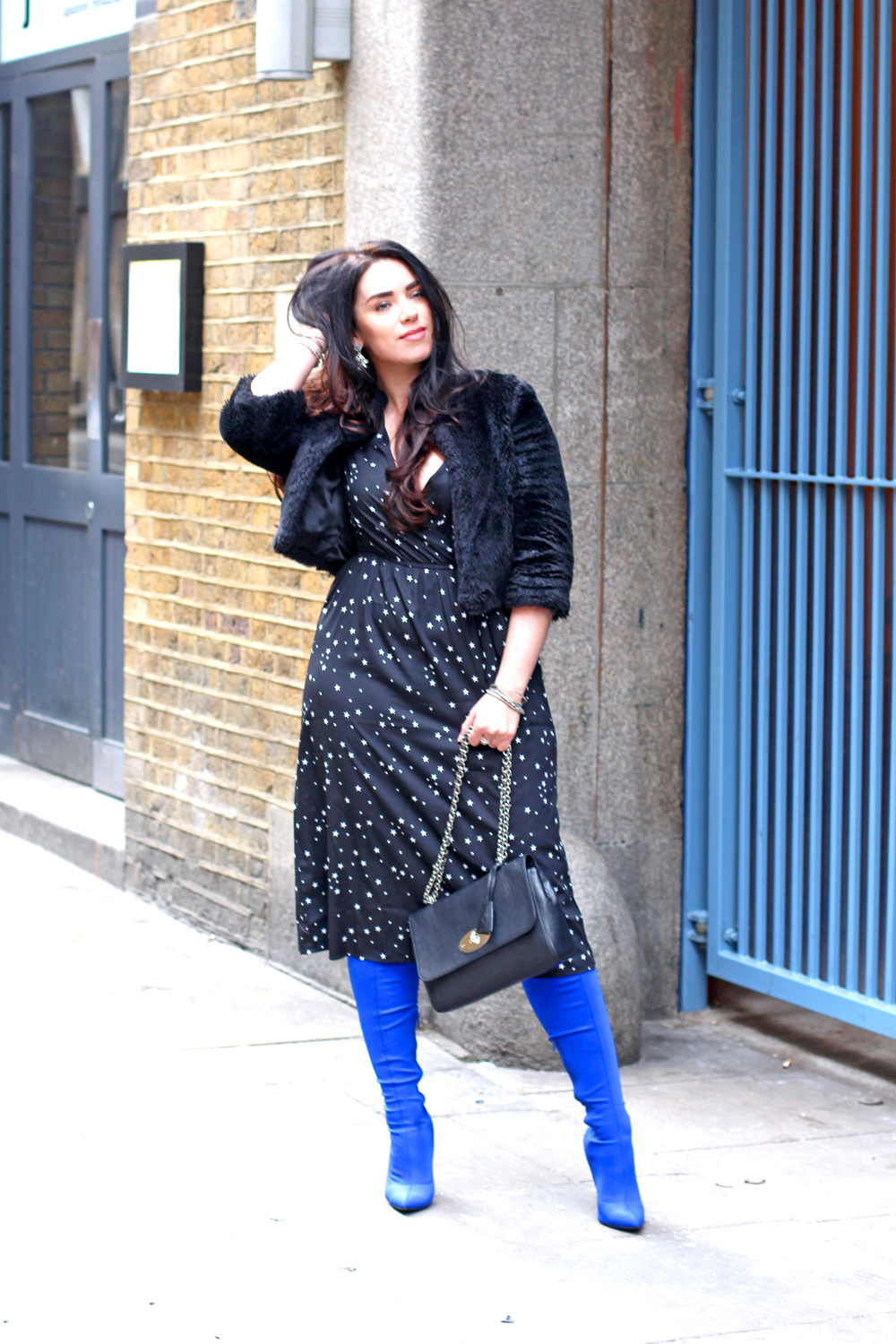 Emma Louise Layla in Boohoo star print dress and blue thigh high boots - UK style blogger
