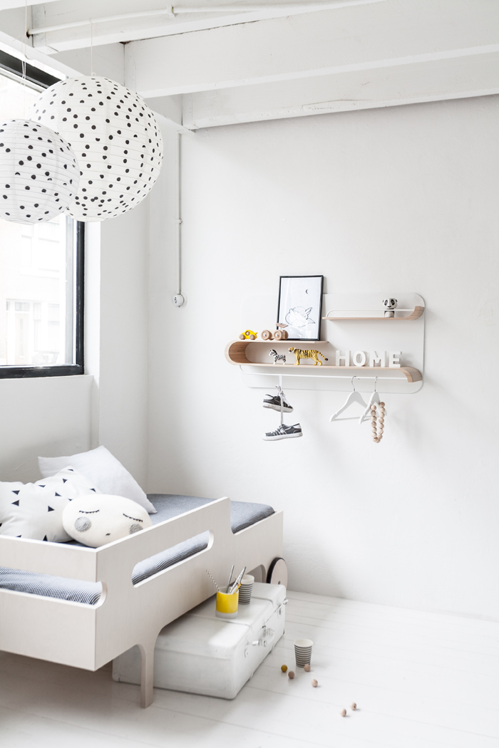 Rafa-kids toddler bed with shelf M in lookbook 2016