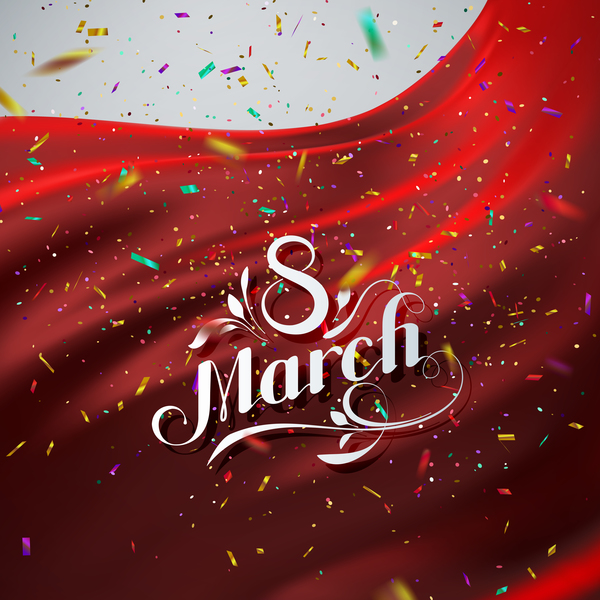 Red satin with confetti background and 8 march card vector