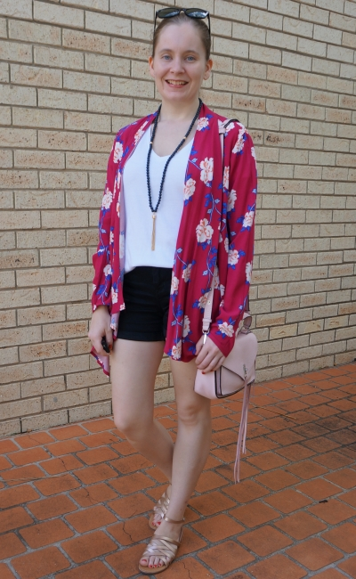 Cotton On Leah kimono in Juddy floral cerise with white v neck tee black denim shorts rebecca minkoff darren bag | away from blue