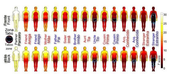 Mapa corpo humano regiões de toque