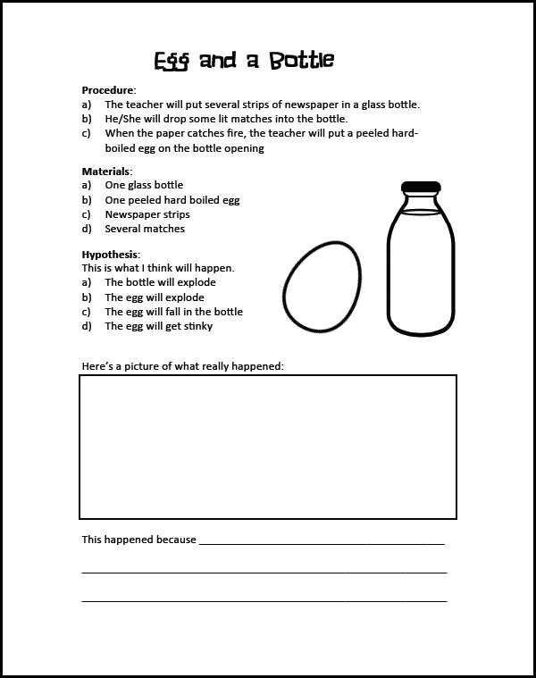 Egg in a Bottle Experiment for primary kids. This fun science experiment comes with a free booklet! #gradeonederful #scienceexperiment #egginabottle #scienceforkids