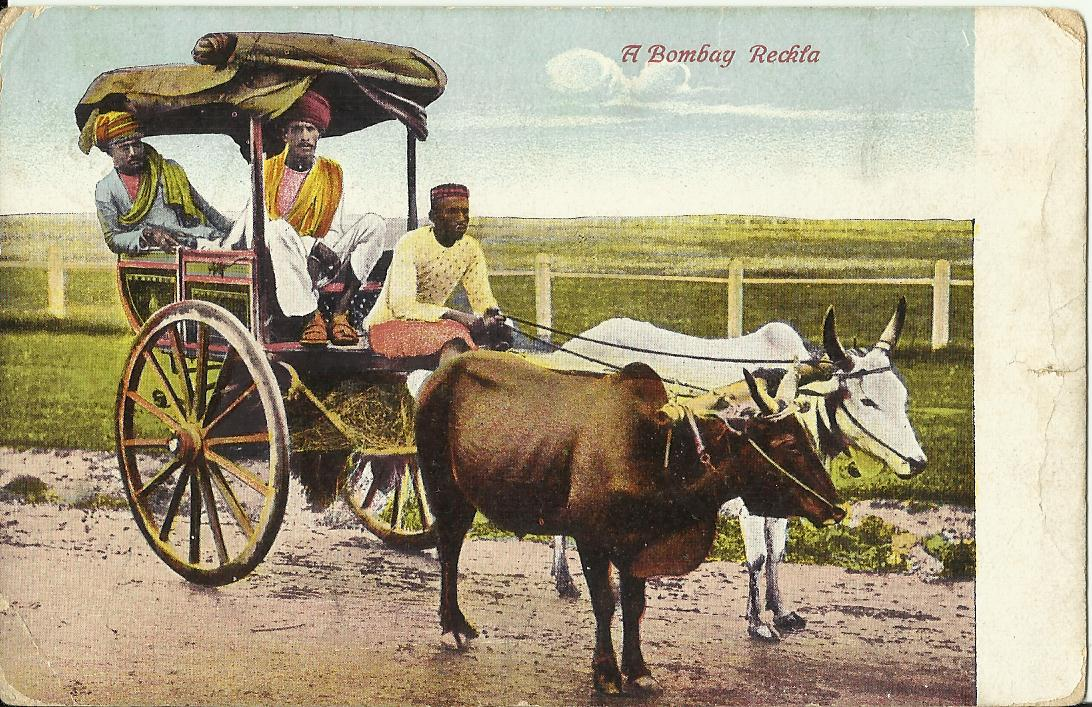Heritage of India: Bombay Bullock Tonga Vintage Postcard