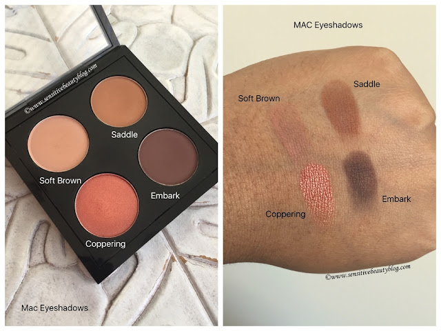 Mac Eyeshadow Quad Idea and swatches on dark skin (soft brown, saddle, coppering, embark)