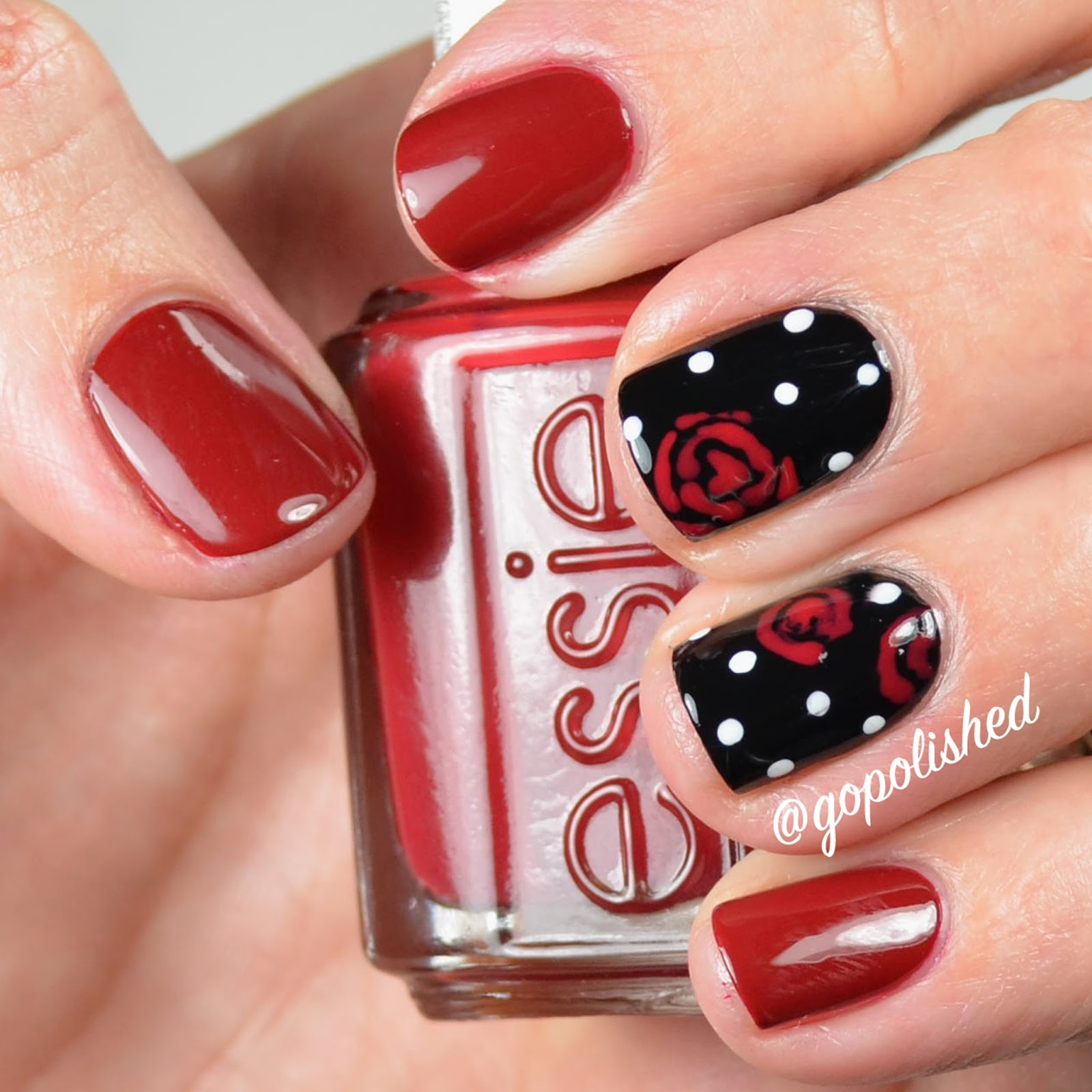 Go Polished: Valentine\'s Nail Design: Roses and Polka Dots